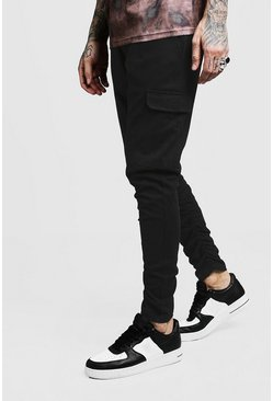 Mens Black Skinny Fit Twill Trouser With Cargo Pocket
