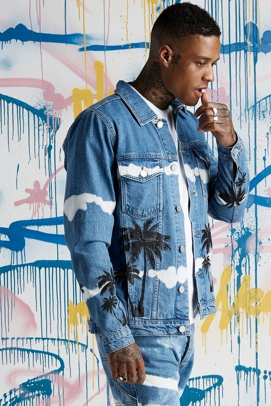 Mens Blue Quavo Oversized Palm Print Tie Dye Denim Jacket