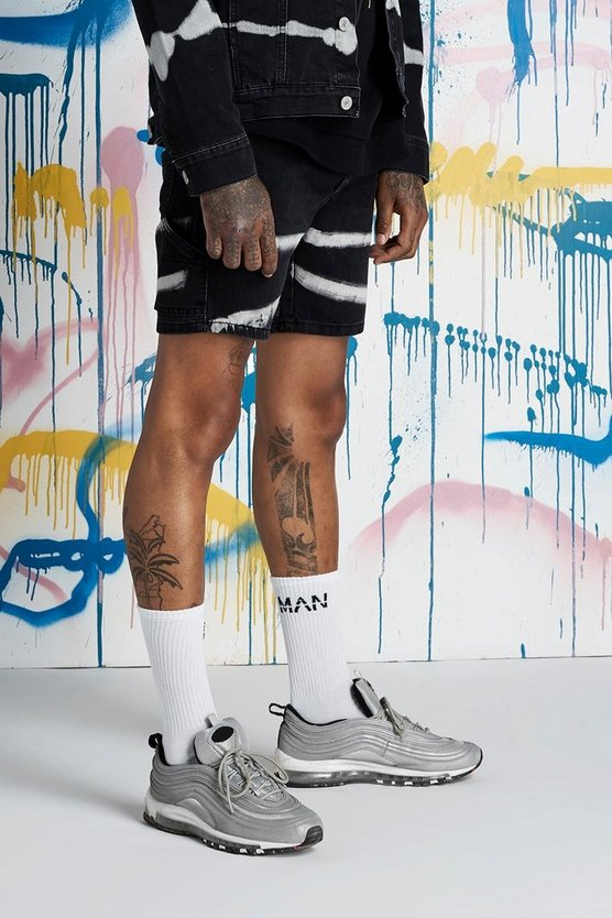Mens Black Quavo Slim Fit Cargo Detail Tie Dye Denim Shorts