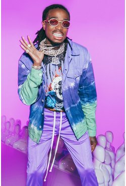 Herr Purple Quavo Regular Fit Tie Dye Denim Jacket