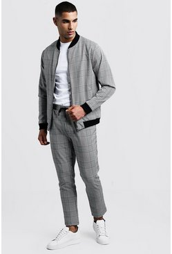 Mens Black Smart Check Bomber Tracksuit