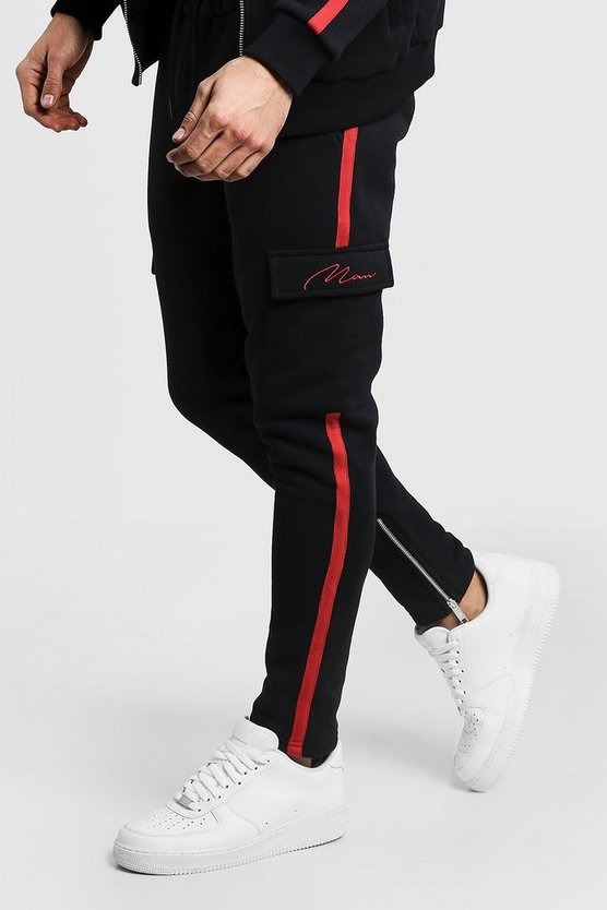 Mens Black MAN Signature Red Tape Jogger With Cargo Pocket