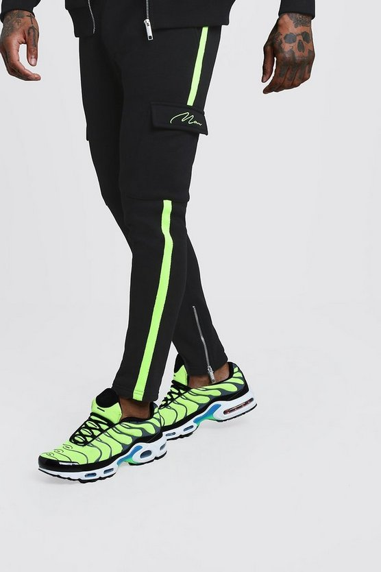 MAN Signature Neon Tape Joggers With Cargo Pocket