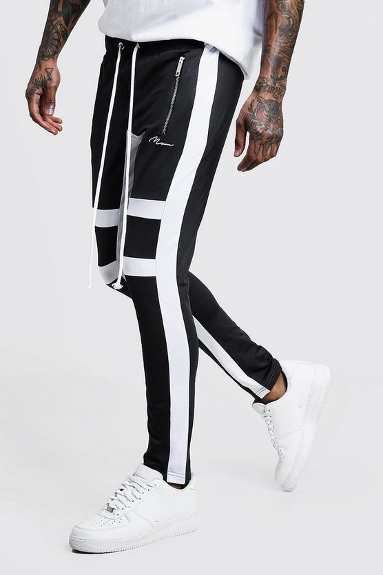 MAN Signature Tricot Panelled Skinny Fit Jogger
