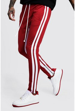 Mens Red Skinny Fit MAN Signature Tricot Joggers