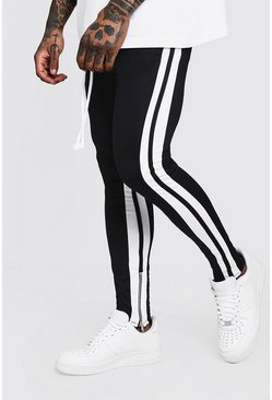 Mens Black Skinny Fit MAN Signature Tricot Joggers