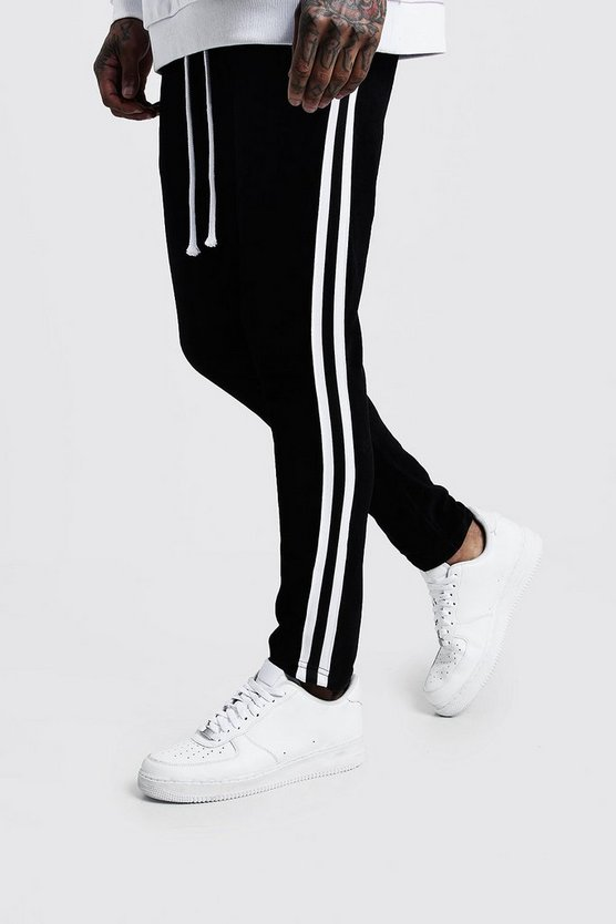 Mens Black Velour Skinny Fit Jogger With Side Tape