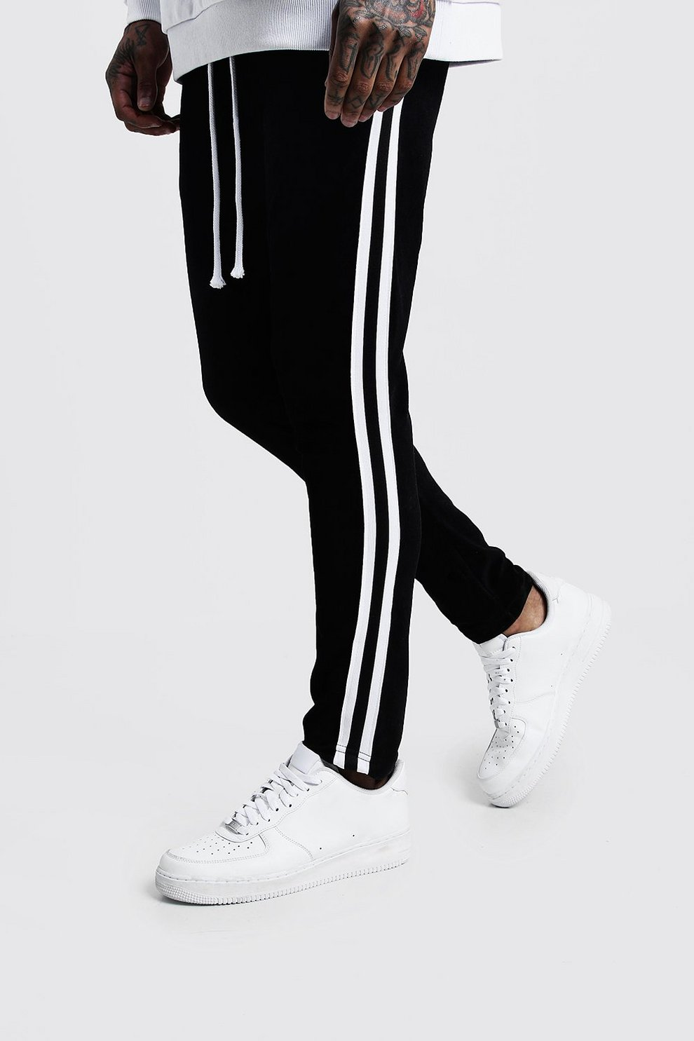 84ae1076e4c9 Velour Skinny Fit Jogger With Side Tape