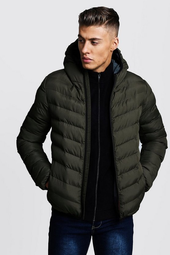 Mens Khaki Quilted Zip Through Hooded Jacket