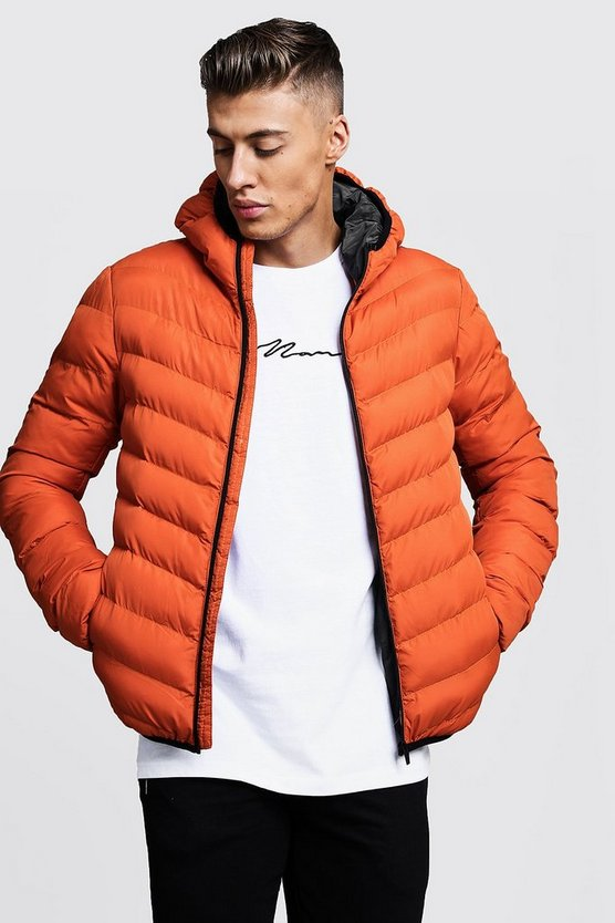Mens Orange Quilted Zip Through Hooded Jacket