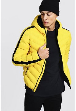 Mens Yellow Contrast Side Panel Hooded Puffer