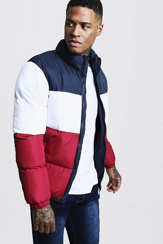 Colour Block Funnel Neck Puffer Jacket