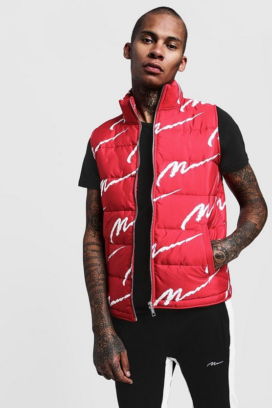 Mens Red All Over MAN Zip Through Padded Gilet