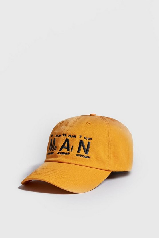 Mens Mustard MAN Table Of Elements Cap