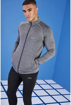 Mens Dark grey MAN Active Zip Through Track Top