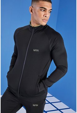 Top da allenamento con zip integrale MAN Active, Nero, Maschio