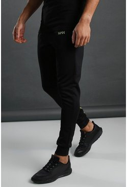Black MAN Active Muscle Fit Panelled Jogger