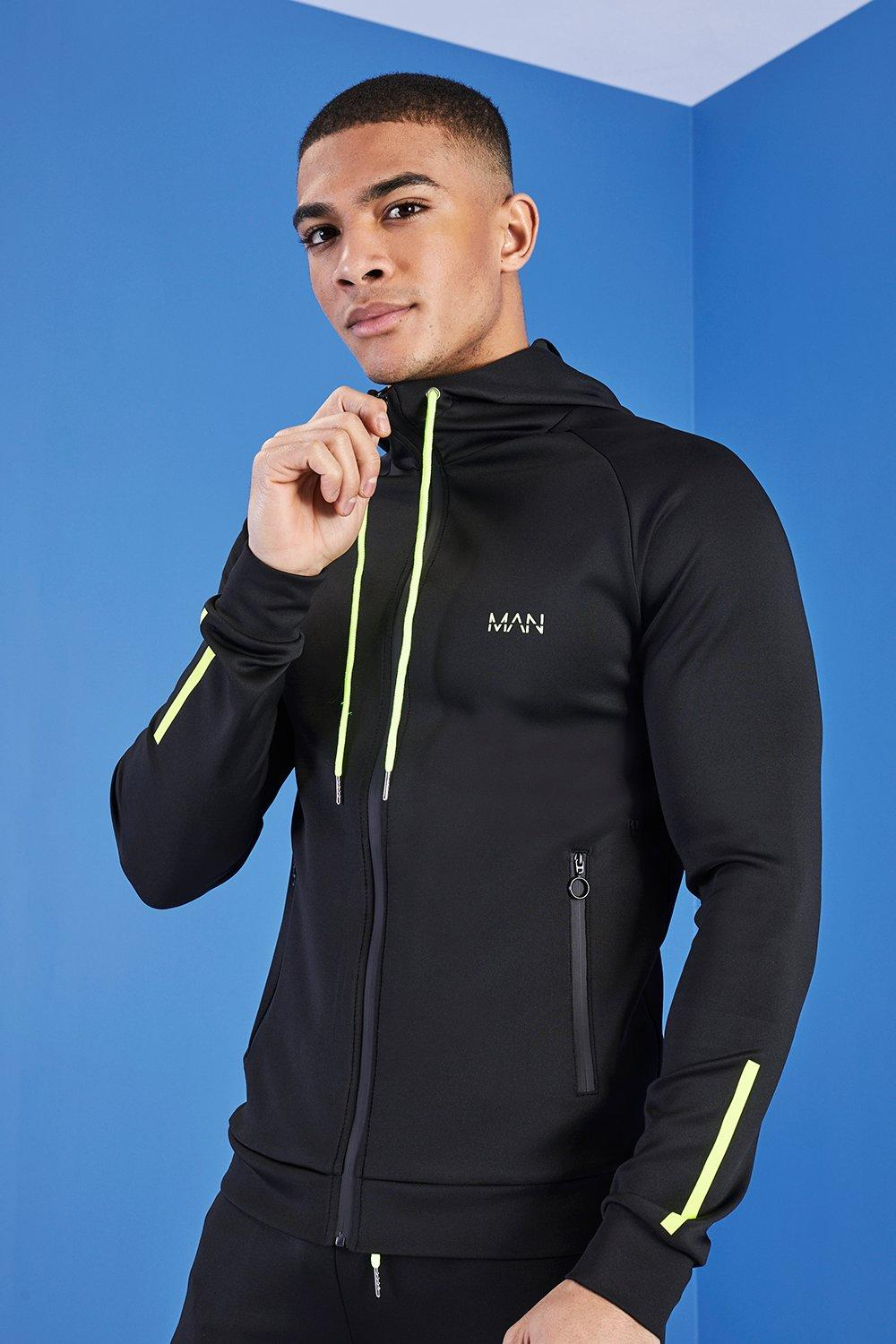 MAN Active Zip Through Panelled Hoodie