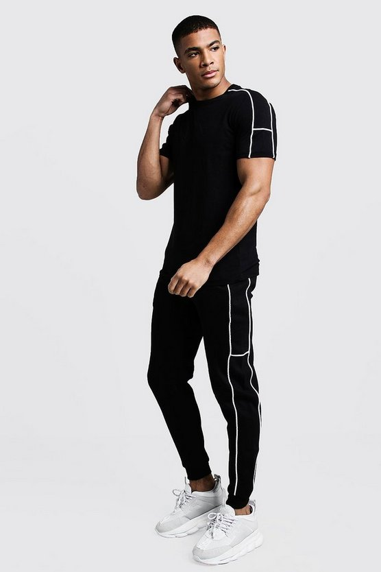 Mens Black Embroidered T-Shirt Tracksuit