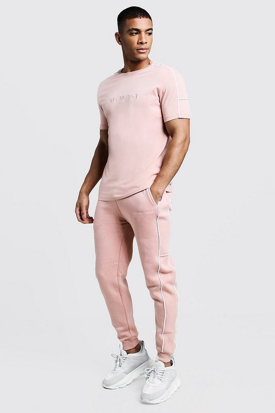 Mens Dusky pink Embroidered T-Shirt Tracksuit