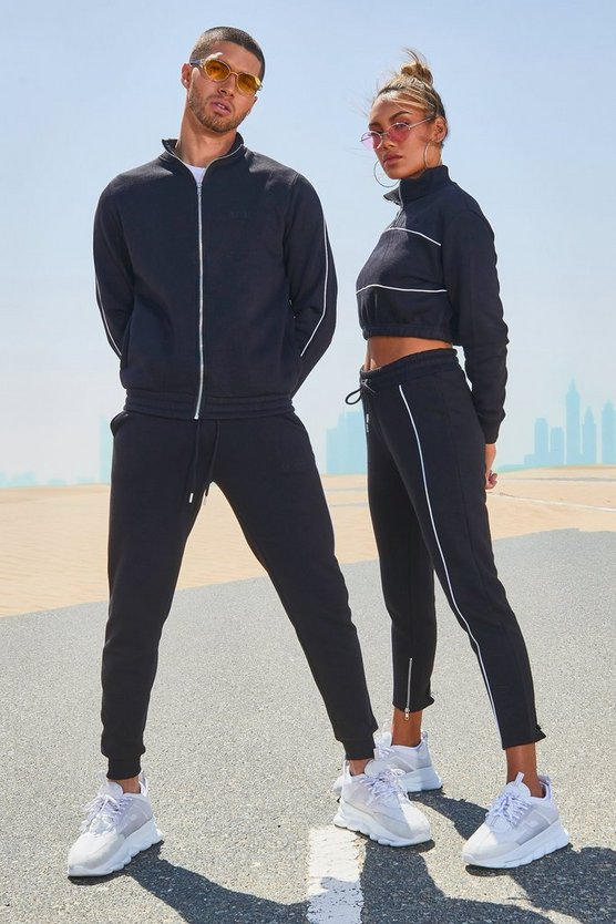 Mens Black His Funnel Neck Tracksuit With Contrast Piping