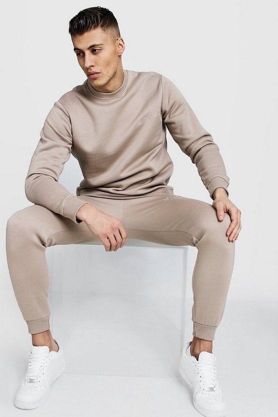 Mens Taupe Embroidered Sweater Tracksuit With Contrast Zips