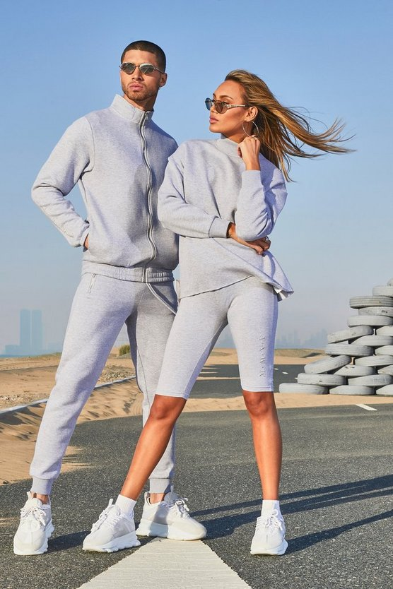 Mens Grey His Funnel Neck Tracksuit With Sleeve Embroidery