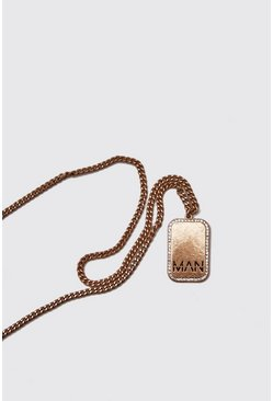 Mens Gold Edge Detail MAN Emboss Dog Tag