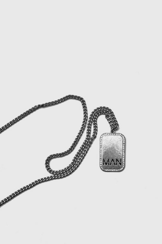 Mens Silver Edge Detail MAN Emboss Dog Tag