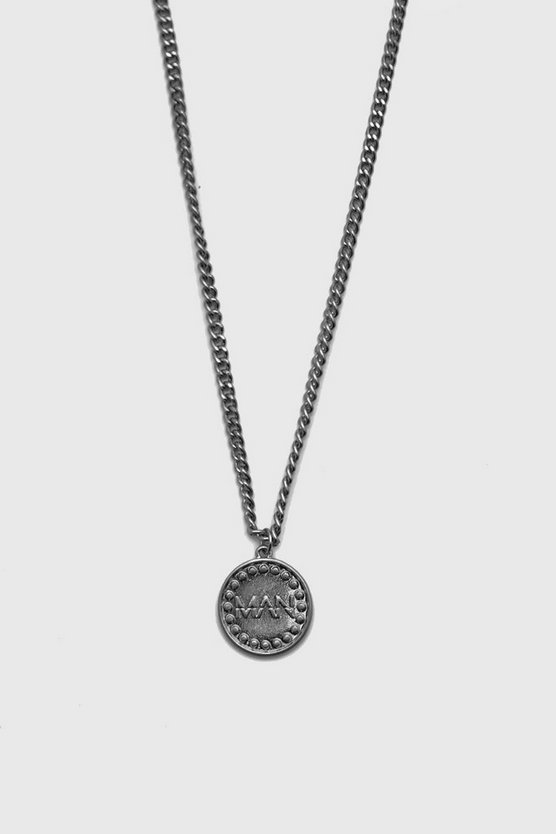 Silver MAN Deboss Coin Necklace