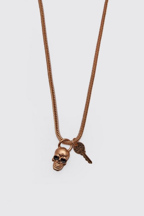 Mens Gold MAN Skull & Key Pendant Necklace