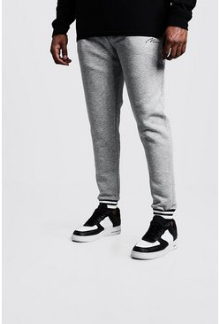Mens Grey Big & Tall Joggers With Sport Stripe Rib