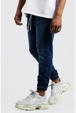 Mens Mid blue Skinny Fit Cargo Pocket Jersey Denim Joggers