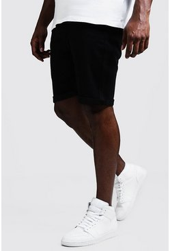 Mens Big & Tall Stretch Skinny Fit Black Denim Shorts