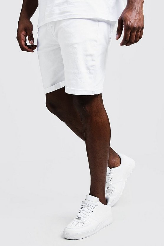 Mens White Big & Tall Stretch Skinny Fit White Denim Shorts