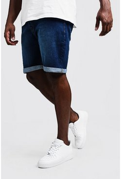 Mens Big & Tall Stretch Skinny Fit Mid Blue Denim Shorts