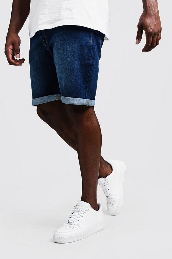 Mens Mid blue Big & Tall Stretch Skinny Fit Mid Blue Denim Shorts