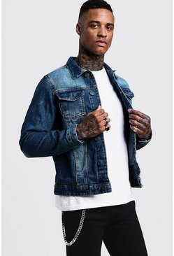 Mens Mid Blue Regular Denim Jacket