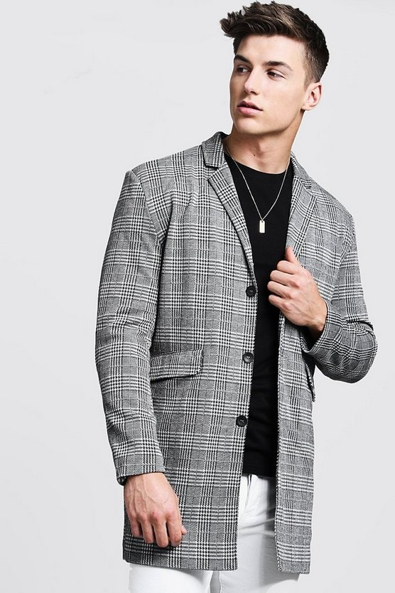 Mens Grey Prince Of Wales Check Duster