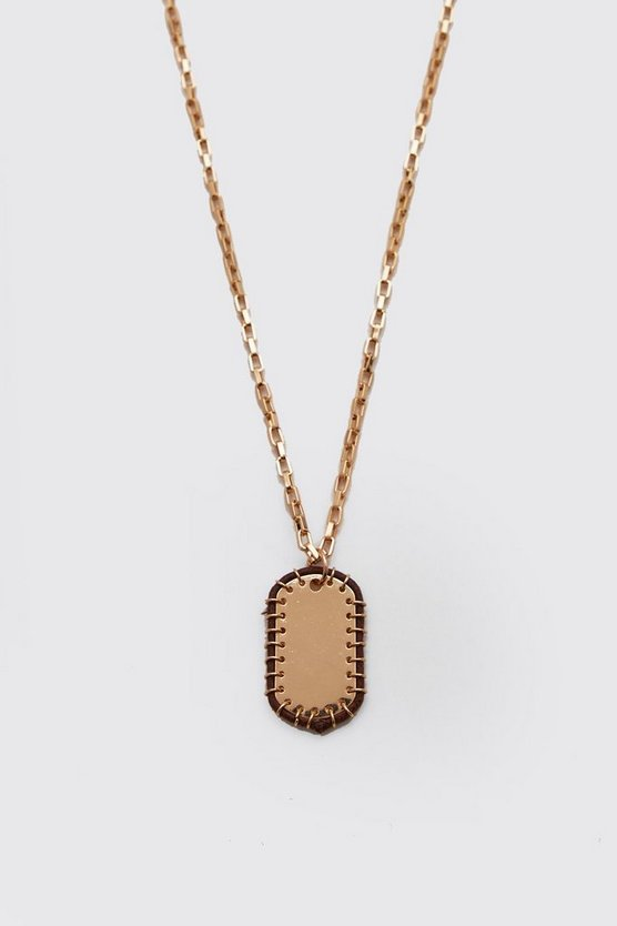 Mens Gold Edge Detail Dog Tag Necklace