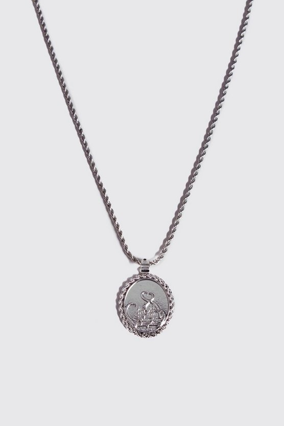 Mens Silver Deboss Detail Coin Necklace