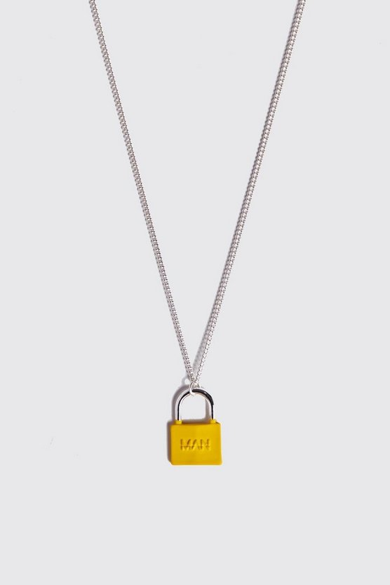 Mens Neon-yellow Padlock Necklace