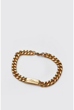 Mens Gold MAN Emboss Chain Bracelet