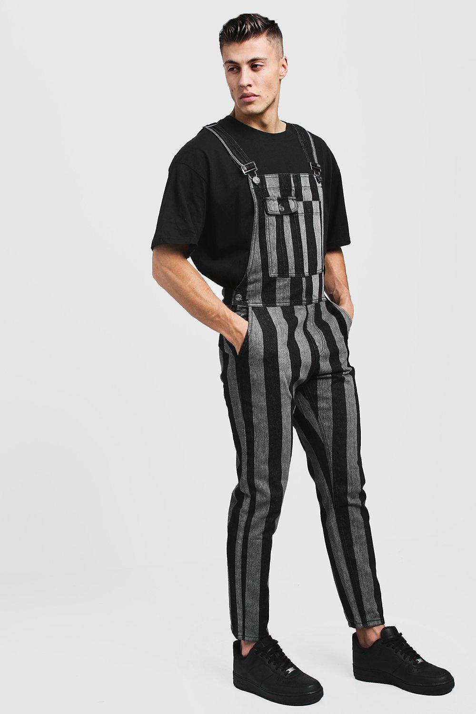 Slim Fit Printed Stripe Denim Dungarees