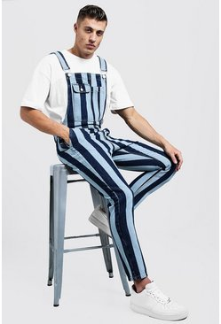 Mens Indigo Slim Fit Printed Stripe Denim Dungarees