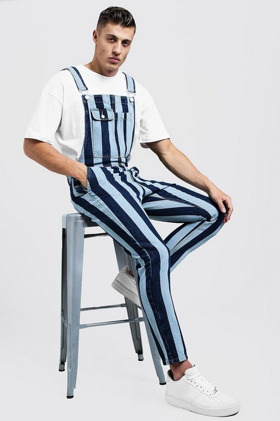 Slim Fit Printed Stripe Denim Dungarees