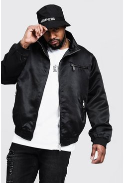 Mens Black Big & Tall Sateen Collared Bomber Jacket