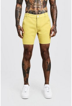 Mens Slim Fit Yellow Denim Cargo Short