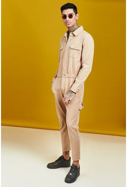 Mens Taupe Long Length Denim Jumpsuit