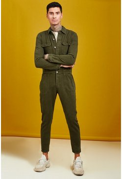 Mens Khaki Long Length Denim Jumpsuit